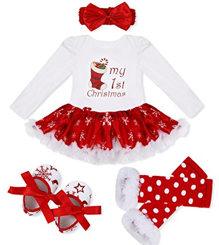 YiZYiF Baby Girls' Reindeer Tutu Costume Crhistmas Party Dress Up (3-6 Months, White First Xmas)