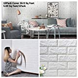 Arthome 3D Faux Brick Wall Panels Peel and Stick Self-Adhesive Foam Wallpaper Tile Decor for Living Room Bedroom Background Wall Decoration Cover 57 sq Feet(White 10Pack)