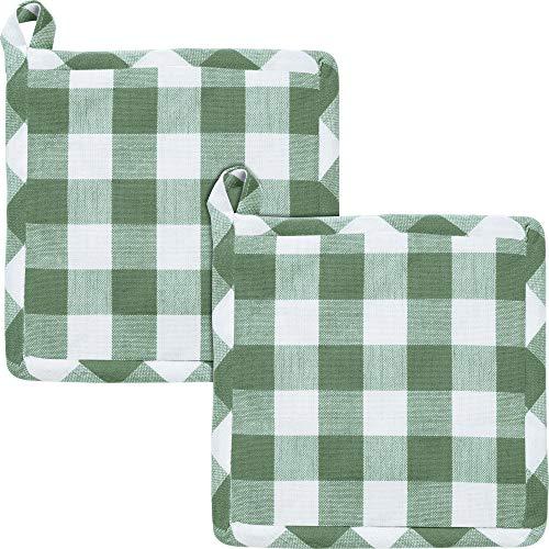 REDBEST Topflappen, Topfuntersetzer karo grün 2er-Pack, hitzebeständig, 100% Baumwolle - praktische Schlaufe, strapazierstark und langlebig - Größe 20x20 cm