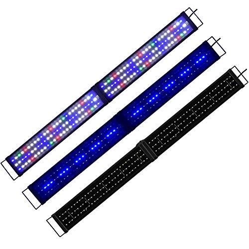 Powerdelux Aquarium LED Beleuchtung, Aquariumbeleuchtung Vollspektrum Weiß Blau Rot Grün Lampe mit Mondlicht mit Verstellbarer Halterung für Wasserpflanzen und Süß-/Meerwasser Aquarien