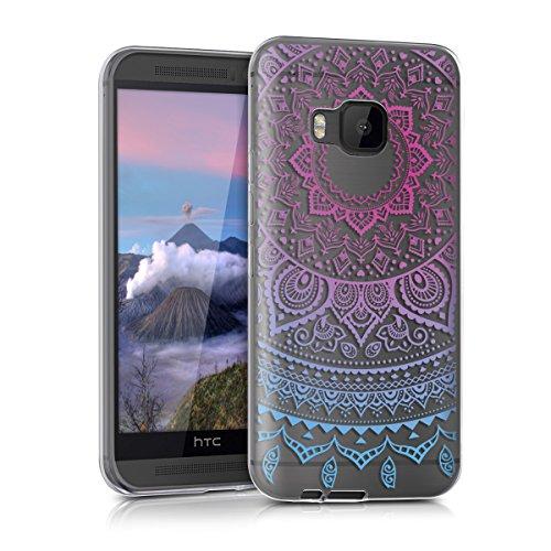 kwmobile HTC One M9 Hülle - Handyhülle für HTC One M9 - Handy Case in Indische Sonne Design Blau Pink Transparent