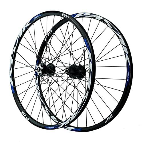 LICHUXIN 26/27.5/29 Pulgadas Ruedas MTB Llanta Aleación Freno Disco Bicicleta Rueda Delantera y Trasera Liberación Rápida 7 8 9 10 11 12 Velocidad (Color : Blue, Size : 26in)