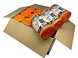 Bolsa de basura naranjas línea Platinum. Tamaño XXL 90x110 cms. 240 sacos de basura extraresistentes y antidesgarro. 10 uds por rollo. Caja 24 rollos.