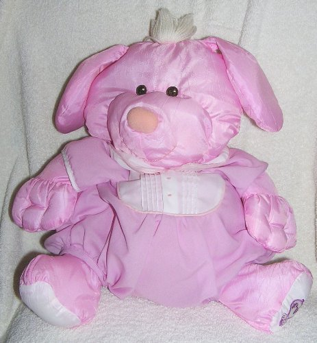 Vintage 1986 Puffalumps 15' Pink Puppy Puffalump with Pink Removeable Romper