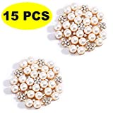 15 PCS Rhinestone Buttons Embellishments Buttons Flatback Pearl Crystal Rhinestone Flower Button Round Crystal...