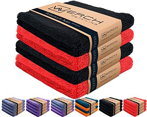 WERCH® 4X randloses Microfasertuch für Autopflege - Ultraweich und Lackschonend Dank 400 GSM - Mikrofasertücher für Auto Politur - 40x40 cm Poliertuch für Autolack (Schwarz + Rot)