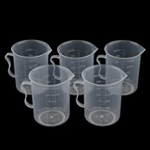 5 Pcs 250ml Plastic Clear Graduated Measuring Cups Beakers Container for Lab, Kitchen, with Handle, Food Grade