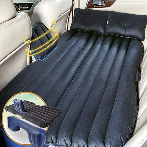 Feng Auto-sprei, zwaar luchtbed, campingbed, eenpersoonsbed, tweepersoonsbed, gevlokt, comfortabel, voor binnen en buiten, beige, zwart