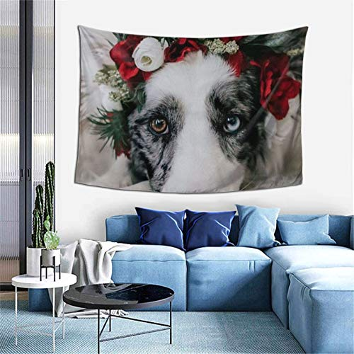 Tapestry Wall Hanging Dog With Garland Fashion Mural Tapestries For Bedroom Room Dorm Wall Decor 60x40 In