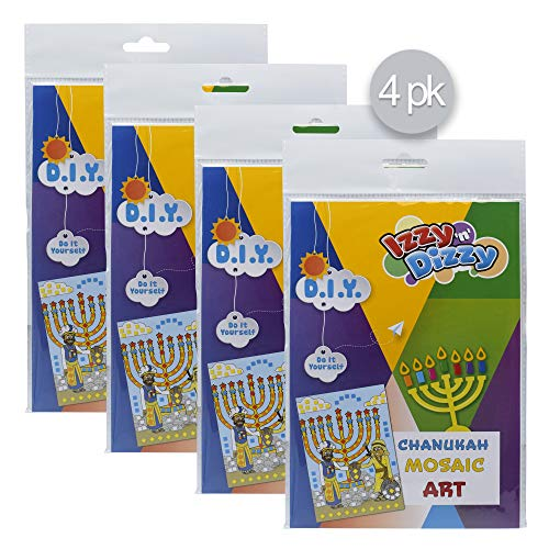 Hanukkah Mosaic Art Kit - 4 Pack - Includes 8' x 6' Board and Foam Squares - Chanukah Arts and Crafts - Gifts and Games