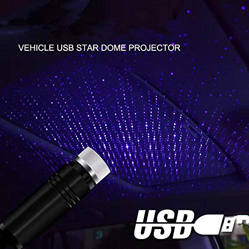ZTMYZFSL LED Lámpara de proyector de techo para automóvil Star Night Lights Interior Ambiance Galaxy Lamp Decoration Light USB Plug Rojo/azul-violeta (ZT-05)