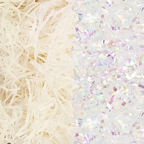 LANMOK Korb Gras Handwerk Geschreddertes Seidenpapier Bast Geschenk Füller Papierschnipsel für DIY Geschenkverpackung Osterkorb Füllung Eier Stuffer Party Zubehör Dekoration (Irisierend)
