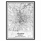 Atlanta© Georgia USA Amerika Karte Wand Kunst Leinwand