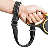 APBFH Adjustable Short Dog Leash, Baby Stroller Wheelchair Safety Wrist Strap with Reflective Leads, Black