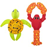 PUPTECK Floating Squeaky Dog Pool Toys - 2 Pack Dog Water Fetch Toys, Interactive Summer Dog Tarining Toys, Cute Fire Hose Ballistic Turtle Lobster Toys for Small to Large Dogs