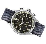 Timex Orologio al quarzo WATERBURY CHRONO quadrante in acciaio 42 MM case colore acciaio - quadrante nero cinturino in tessuto Avio 22 MM con luce notturna INDIGLO resistente all'acqua fino a 50 M di