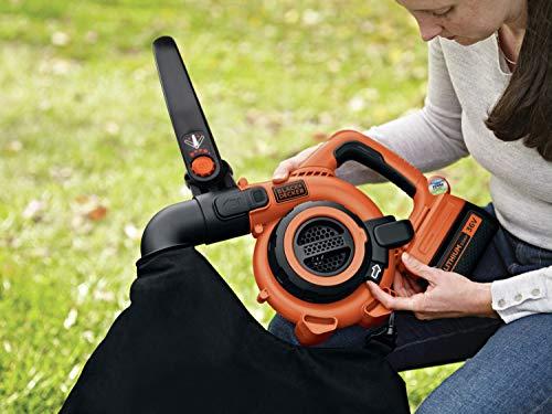Black+Decker Souffleuse à Feuilles et Aspirateur à Batterie GWC3600L20 avec Hachoir et Sac de Collecte de 17,5l, Avec Fonction Power Select, Avec Batterie Lithium-ion 36 V, 2,0 Ah