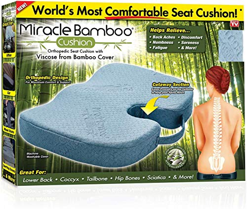 Ontel Miracle Orthopedic Seat Cushion with Viscose from Bamboo Cover, Gray