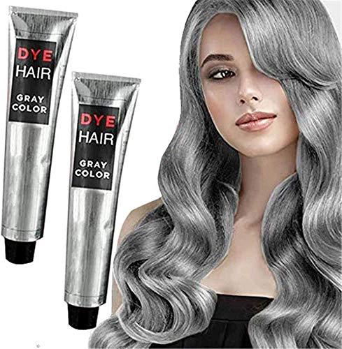 1/2 Pcs Gray Color Natural Permanent Hair Dye Cream Unisex DIY Fashion Gray Silver Color Super Gray Dye Hair Cream 100ml Smoky Gray Punk Style Grey Silver Permanent Hair Dye...