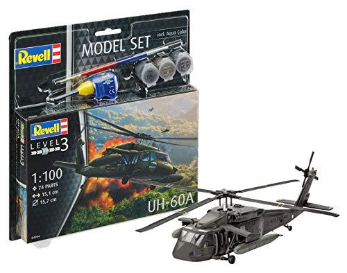 Revell 64984-Modellbausatz Hubschrauber 64984 Set 1:100-UH-60A im Maßstab 1:100, Level 3, Orginalgetreue Nachbildung mit vielen Details, Helikopter