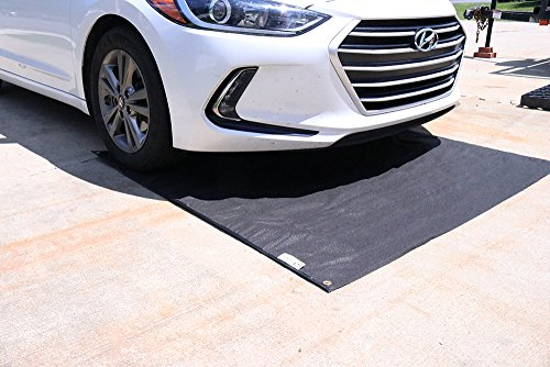 Car Containment Mat for Driveway by New Pig | Oil Mats for Garage Floor | Garage Car Mats | Heavy Duty Absorbent Mat for Oil | Protect Driveway and Garage Floor | 5' x 5' Oil Absorbent Pad, Black (PM50087)