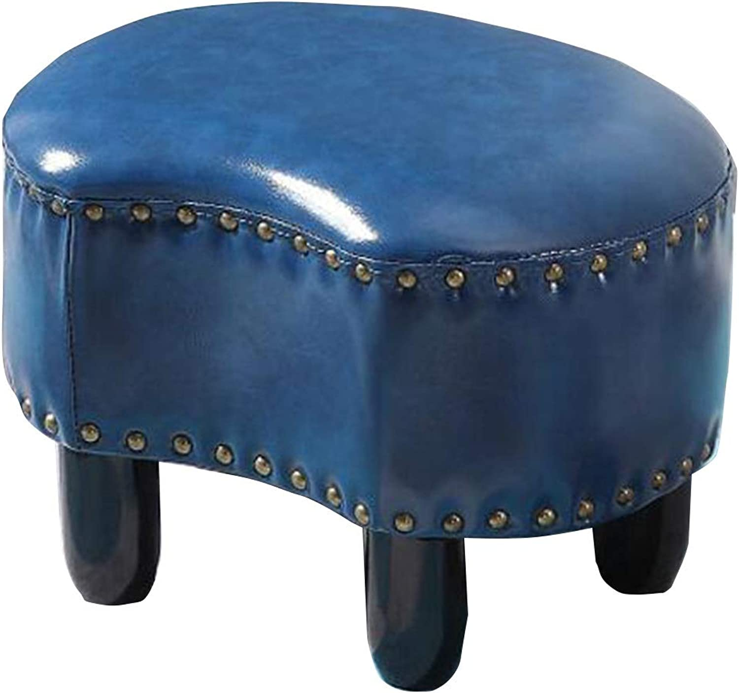 Pouffes and Footstools Home Change shoes Low Stool Solid Wood Feet Crescent Shape PU Retro , 7 colors ( color   bluee , Size   42X31X28CM )