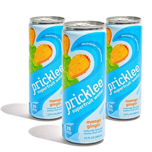 Pricklee Superfruit Water, Mango Ginger (Pack of 12) Non-Carbonated Cactus Water - ONLY 35 Cals + NO Stevia/Caffeine - Natural Hydration with Electrolytes + Antioxidants
