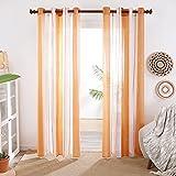 Deconovo Cortinas Translucidas, Visillos para Salón Dormitorio, Estilo Moderno de Rayas, con Ojales, 2 Piezas, 140x245cm(Ancho x Alto), Naranja