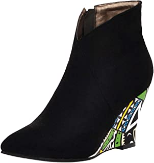 ELEEMEE Women Wedge Heel Autumn Boots Zip