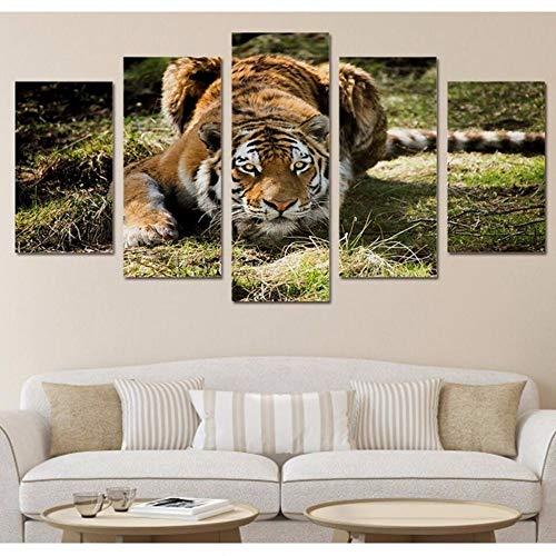 Pmhhc Decoratie van het huis, canvas, 5-delig, tijgerprints Hd Animal Wall Art modulaire foto's voor nachtkastje achtergrond vogels poster 20x35cmx2 20x45cmx2 20x55cm Met frame