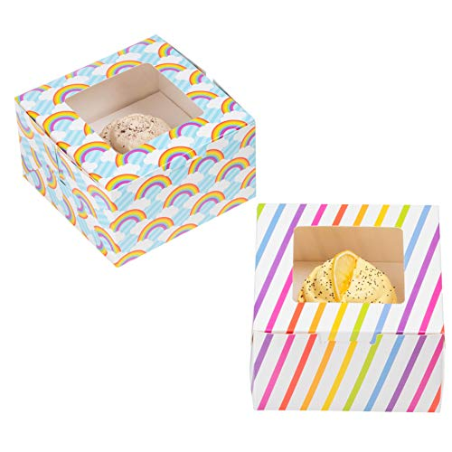 24-Pack Cupcake Boxes - Rainbow Unicorn Themed Individual Containers with Window and Inserts Glossy Bakery Box 2 Designs 5 x 3 x 5 Inches