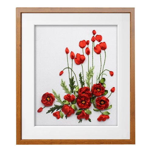 "Ribbon Embroidery Kit Handmade 17""x19"" Flower Design DIY Wall Decor Geraniums(No Frame)"