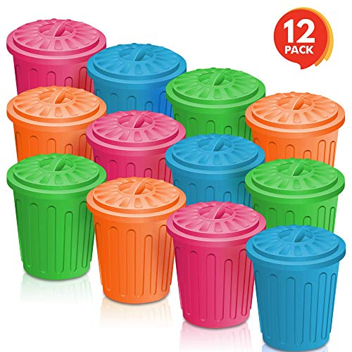 ArtCreativity 4.5 Inch Mini Trash Can Set - 12 Pack - Miniature Garbage Bin Toy in Assorted Colors - Unique Desk Organizer - Birthday Party Favors for Boys and Girls, Classroom Decor, Carnival Prize