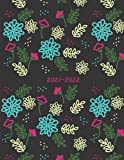2021-2022: Week-View UK Academic Planner 2021-2022 / School Diary / 17x22cm / Pretty Flowers - black background