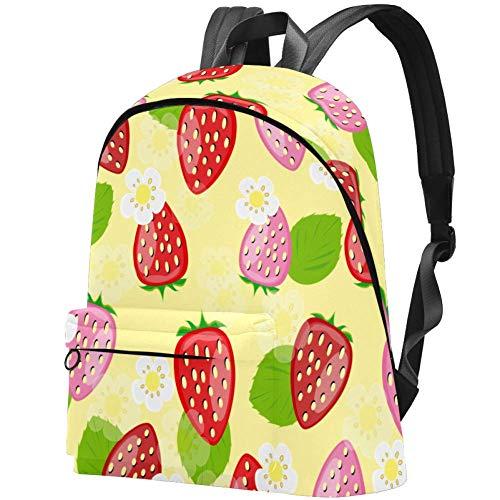 Rucksäcke aus Segeltuch mit süßem Erdbeer-Motiv, niedlicher bedruckter Rucksack für Teenager Mädchen