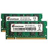 EMMCRAM 8GB (2 x 4GB) PC2-6400 DDR2-800 200PIN SoDIMM Laptop RAM Non-ECC Unbuffered Notebook Memory for Dell E6400,E6500, Inspiron 1545, M4400,E5500