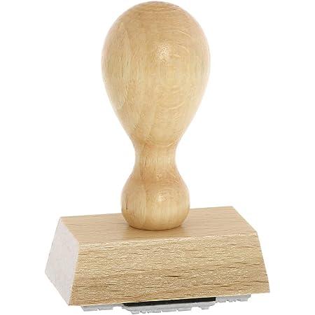 Textplatte Stempel aus Naturholz 3,5 x 6,5 cm | Betriebsausstattung24/® Traditioneller Holzstempel inkl Ablage, 3,5 x 6,5 cm Buchenholz