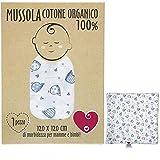 Baby-Musselin aus weicher und organischer Baumwolle für Kinder und Babys. Ideal als Handtuch, Bettlaken für Kinderbetten. 100 % antiallergisch, 120 x 120 cm. Geschenkverpackung (Walen)