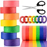 Colored Masking Tape, 21 Rolls Colored Painters Tape for Arts and Crafts with Scissors, Colorful Painter Tape Set 7 Different Color Rolls 13 Yards x (Wide 0.24/0.5/1 inch) for Kids Teachers Painters