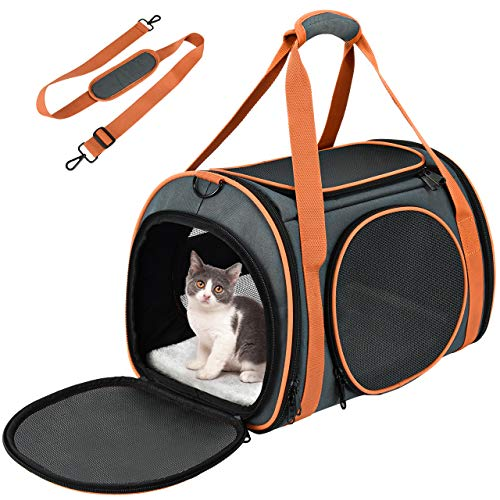 OKMEE Transportin Gato Perro, Bolsa de Transporte para Mascotas. Totalmente Transpirable, Esructura Sólida, Espaciosa y Cómoda. Portador de Viaje con Colchón Suave para Transporte en Tren/Coche/Avión