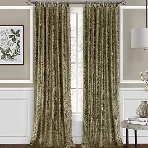 Mercer41 Vickers Harper Criss-Cross 84 Inch Solid Semi-Sheer Tab Top Single Curtain Panel in Moss