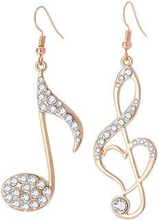 Orecchini pendenti da donna, con nota musicale, ipoallergenici, in argento e oro rosa, con zirconi brillanti, idea regalo ...
