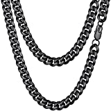 PROSTEEL Mens Chunky Chain Black Necklace Miami Cuban Link Cool Chain Necklace 24inch Chains Necklaces for Men Boy Jewelry