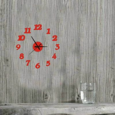 cleck Reloj digital de acrílico minimalista nórdico moderno y minimalista, decoración individual, diversión creativa de la vida de Corea del Sur, tabla de 20 cm, redondo rojo