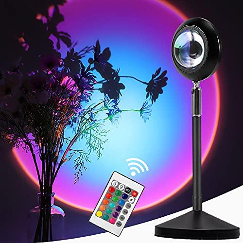Moocuca Lámpara de Proyección Sunset Dimmable,16 Modos de Colorets Rainbow Sunset Projection Foor Lamp Con Mando a Distancia, 360° Ajustable Lámpara de Proyección Arcoíris