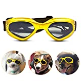 PEDOMUS Dog Goggles Dog Sunglasses Adjustable Strap for UV Sunglasses Waterproof Protection for Dog Yellow