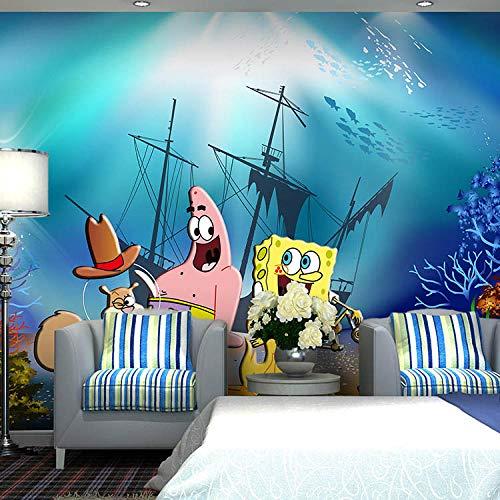 WLPBH Autoadhesivo Mural 3D Esponja De Dibujos Animados Héroe Película (W) 350X (H) 256Cm Papel Tapiz Decoración De La Habitación Del Niño Niño Mural De Fotos En 3D Papel Princesa Pintura De L