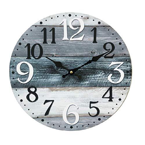 Rebecca Mobili Reloj De Pared, Reloj Redondo para Amueblar, Blanco Gris Azul, Madera MDF, Estilo Vintage, para Muebles De Cocina Sala De Estar - Medidas Ø 33.8 cm x Fon 4 cm - Art. RE6462