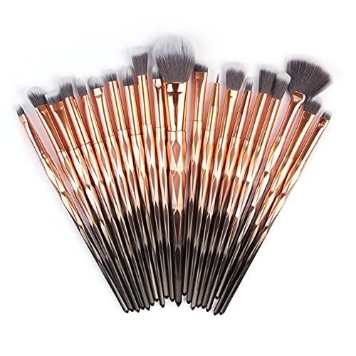 Pincel de maquillaje 20 piezas portátil herramienta de maquillaje profesional Premium Set de brochas de maquillaje con estuche de viaje marrón