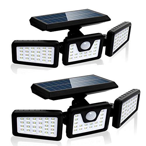 Solar Lights Outdoor with Motion Sensor, 800LM Wireless LED Solar Lights Outdoor, 3 Adjustable Heads, 270° Wide Angle Illumination, IP65 Waterproof, Wireless Wall Lights (2 Pack)